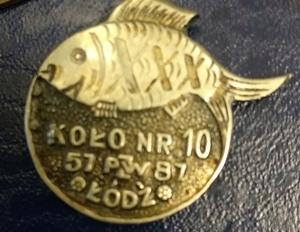 Odznaka wędkarska PZW Koło nr 10 Łódź 1987