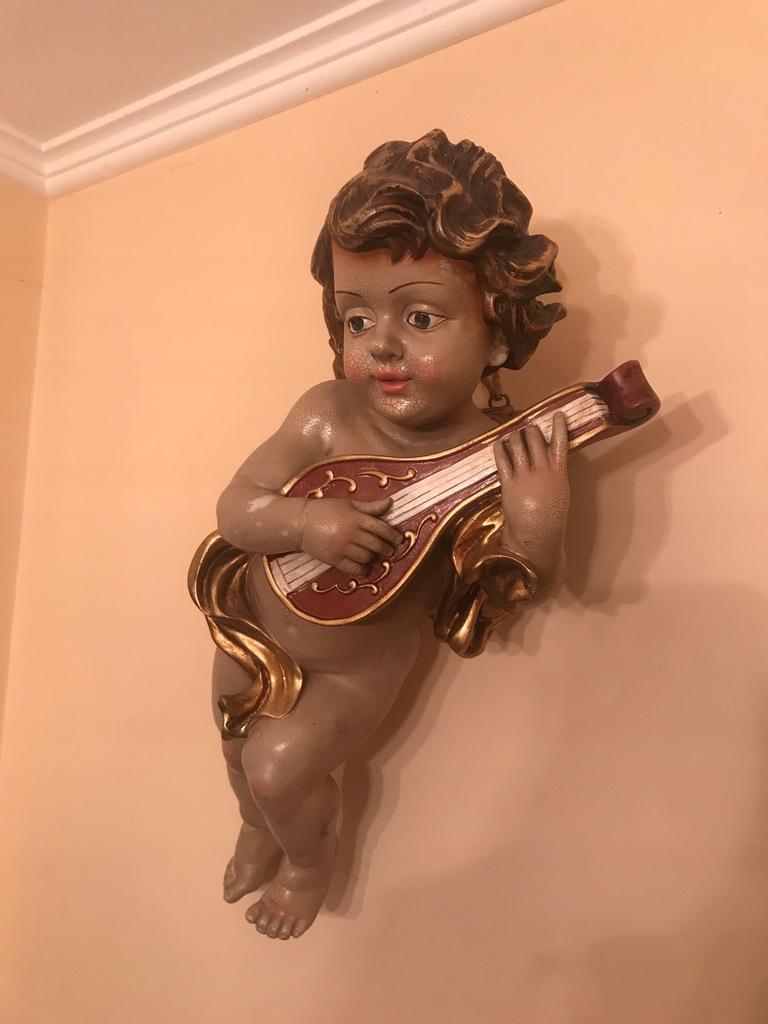 Piękny Duży Anioł Putto z gitarą Antyk! Polecam!