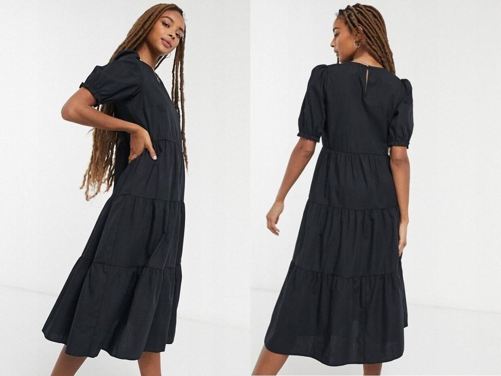 New Look Czarna luźna sukienka midi z popeliny L