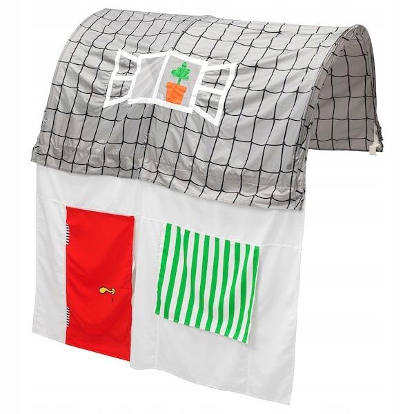 IKEA KURA Baldachim z zasłoną szary/biały