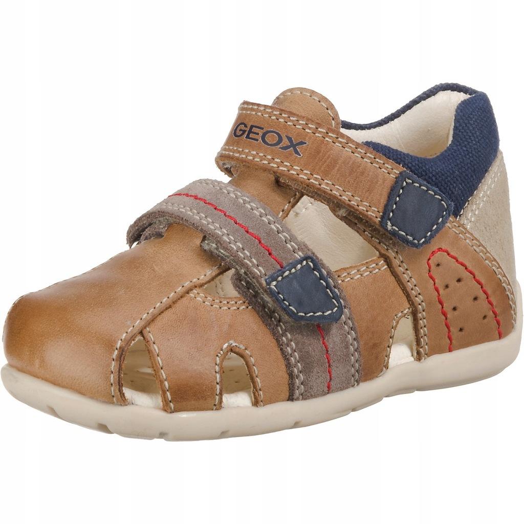 Sandałki GEOX Buty Rzep, skóra Brązowe 24