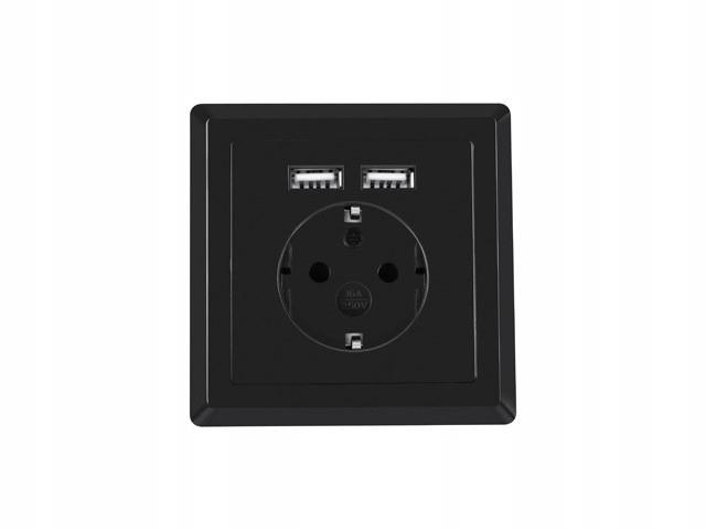 Gniazdo podtynkowe 230V pojedyncze + 2x USB 2.1A s