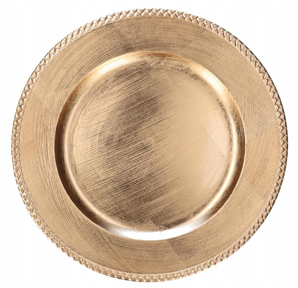 Podtalerz talerz dekoracyjny ZŁOTO 33 cm ŚLUB