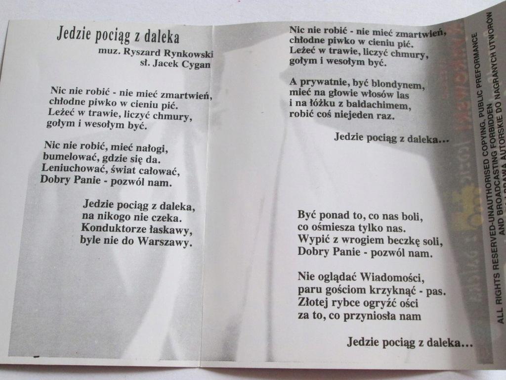 Ryszard Rynkowski Jedzie Pociag Z Daleka Kaseta 8231356207 Oficjalne Archiwum Allegro
