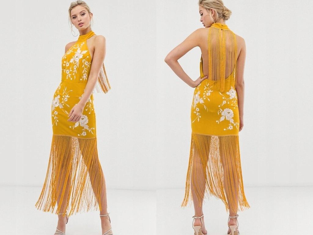 DESIGN Żółta Sukienka Haft Frędzle S/36