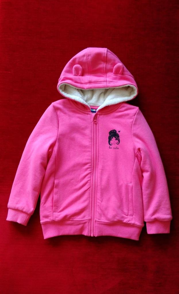 Lupilu bluza różowa futerko kaptur z uszkami 110