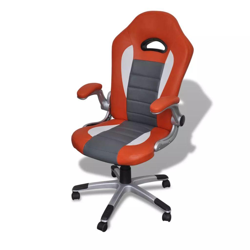 Nowoczesny skorzany fotel biurowy (Pomarańczowy)