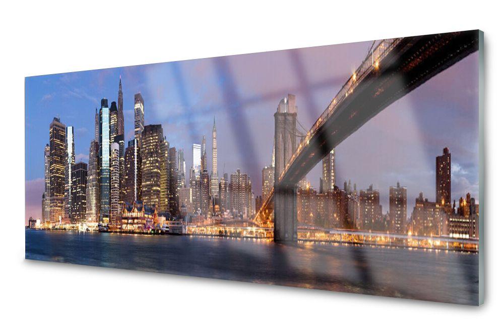 Lacobel Panel Szklany Ścienny Miasto Widok 120x60