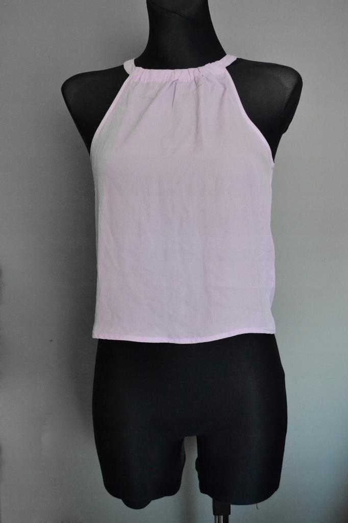 liliowa koszulka crop top XS 152 cm New Look