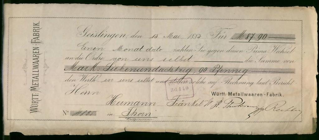 Weksel 1883 r Opł. Weks. Geislingen / Thorn