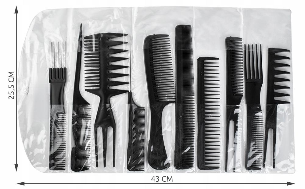 10 x Grzebień do Włosów Fryzjerski Grzebienie Etui