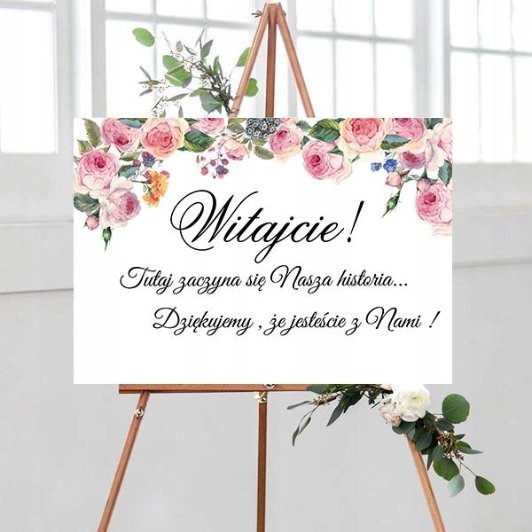 Tablica powitalna, motyw kwiatowy, róż
