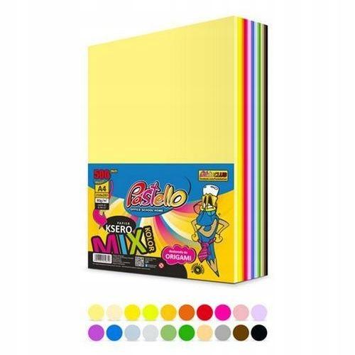 Papier ksero kolorowy A4 80g. mix 500 ark. 20x25,