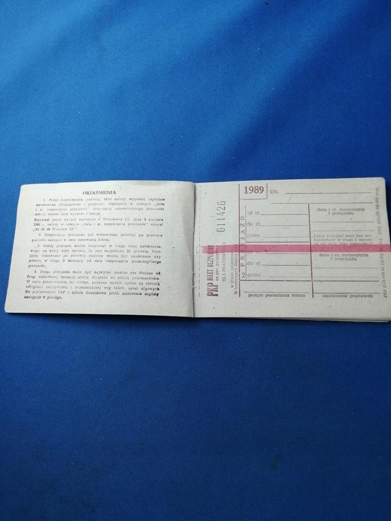 PKP. KSIAŻECZKA BILETOWA- BEZPŁATNA 1989.