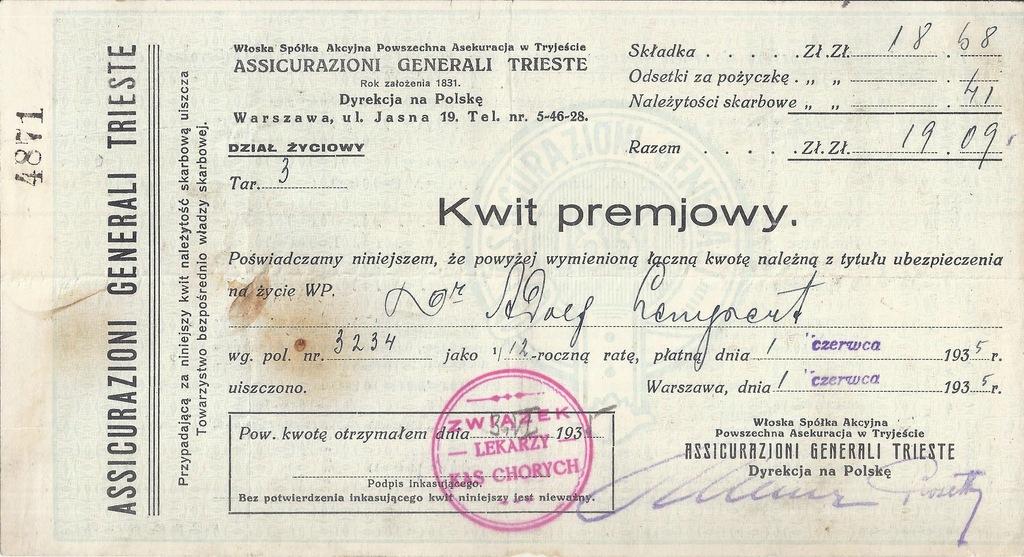KWIT PREMIOWY GENERALI WARSZAWA 1935