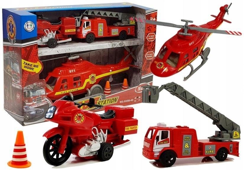 Zestaw Pojazdów Straż Pożarna Helikopter Motor Świ