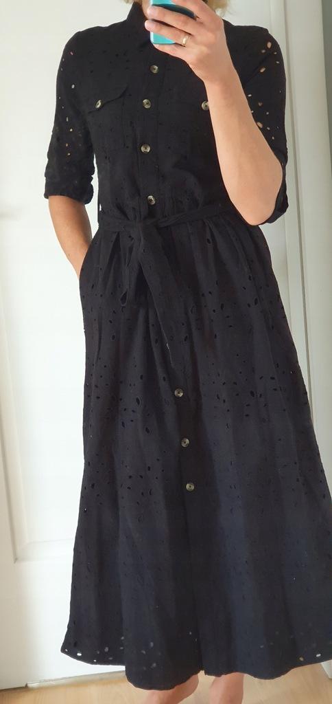 Zara wiązana sukienka z ażurowym haftem długa XS