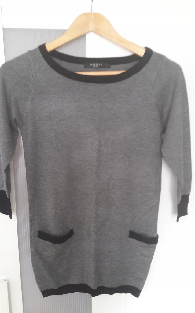 Sweter RESERVED 38 M szary kieszenie 3/4 rękaw