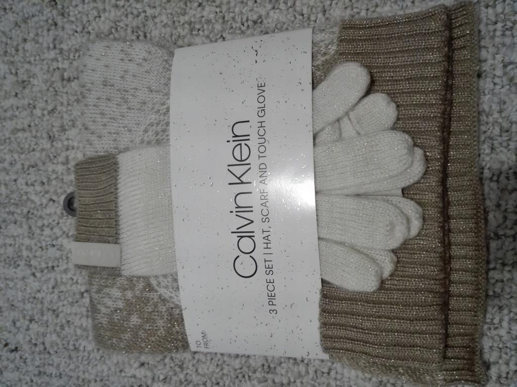 komplet czapka, szal, rękawiczki Calvin Klein beż