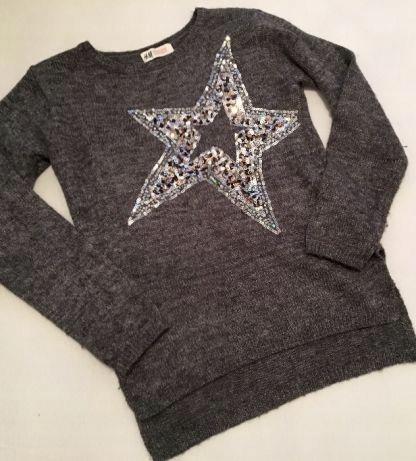 Sweter h&m 146 152 szary siwy cekiny