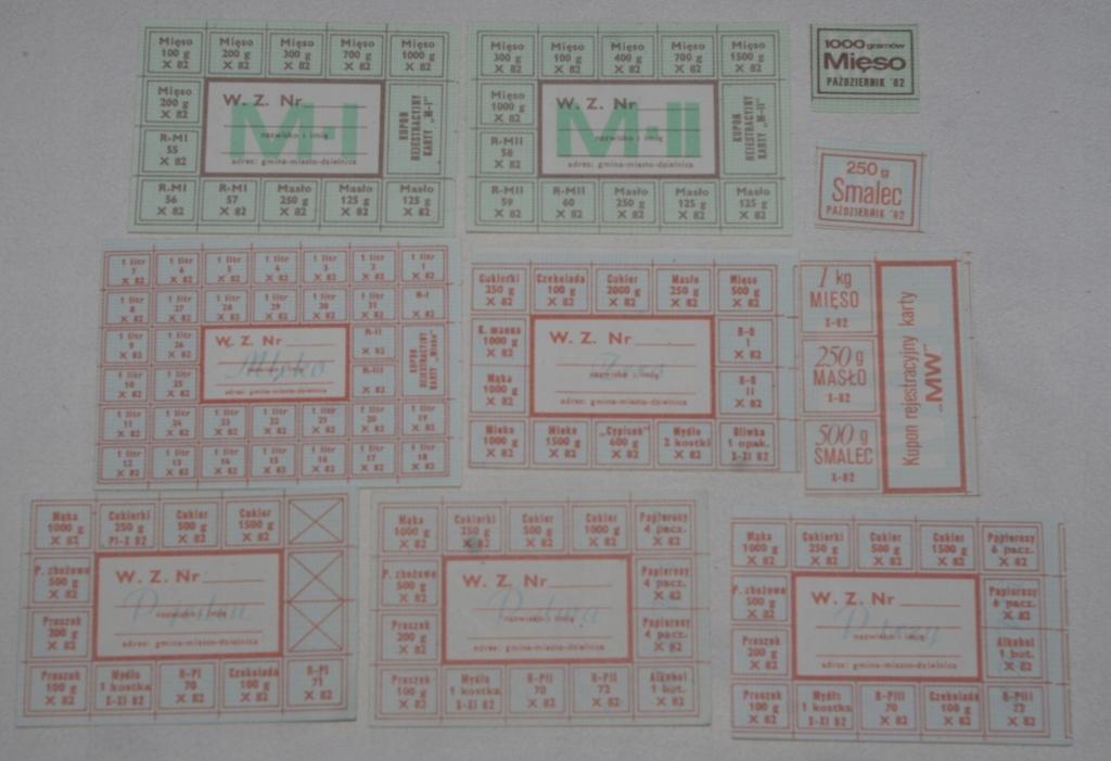 KARTKI ZAOPATRZENIOWE z PRL X82