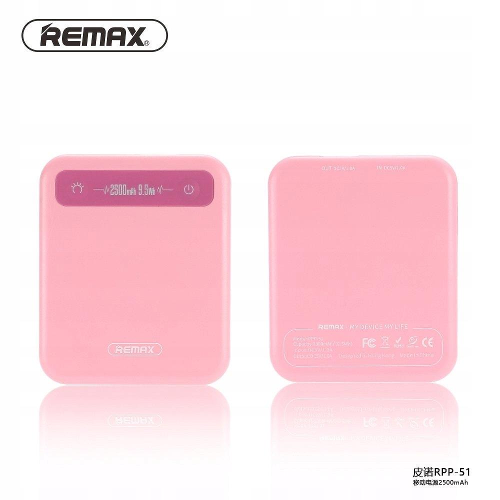 Remax power bank Pino RPP-51 2500mAh rózowy