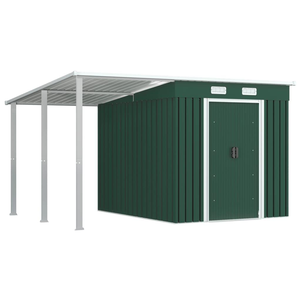 Szopa z przedłużonym dachem, zielona, 335x236x184