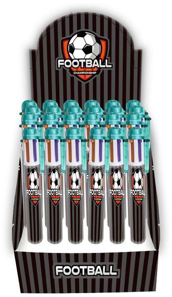 Długopis 6 kolorowy z piłką nożną Paso - 6 w 1