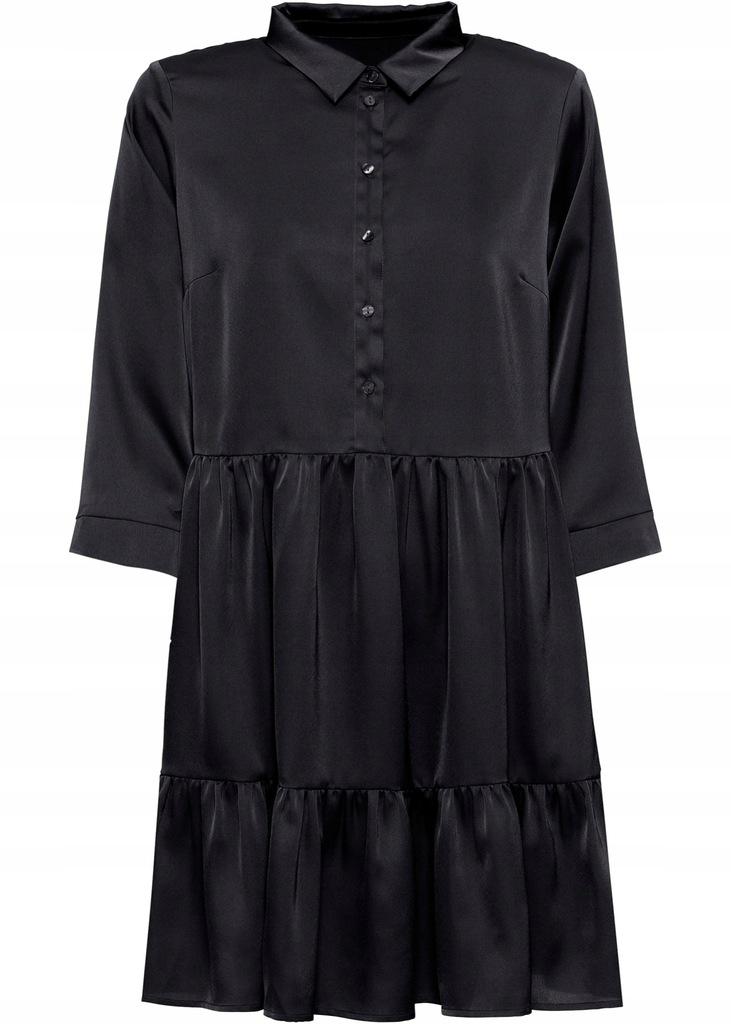 ZE13 BPC Sukienka satynowa z falbanami 44