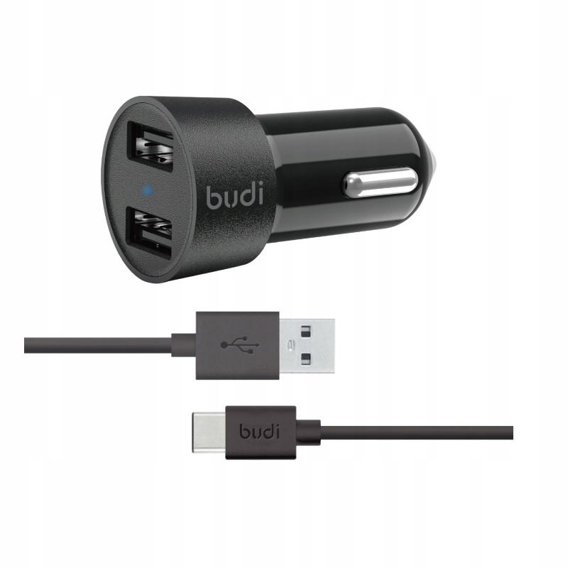 Budi Ładowarka samochodowa 2x USB, 24W + kabel USB C 1,2 m