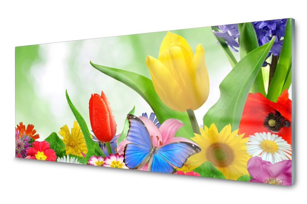 Lacobel Panel Szklany Ścienny Motyl Kwiaty 120x60