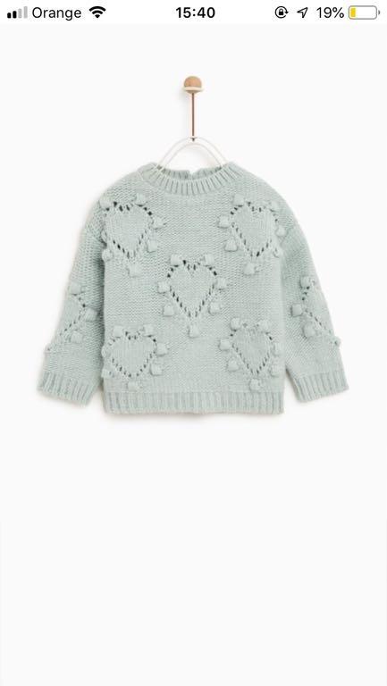 Zara sweterek miętowy 80