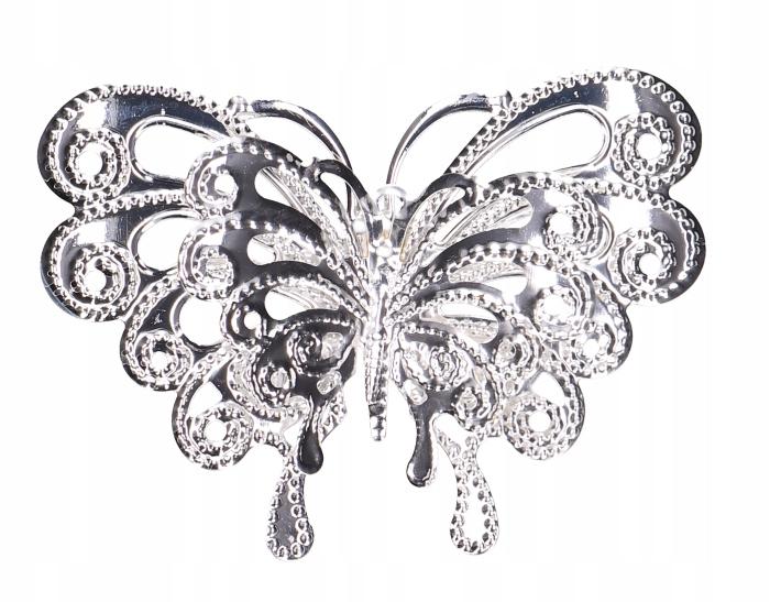 Motylek metalowa zawieszka ażurowa ozdoba srebro