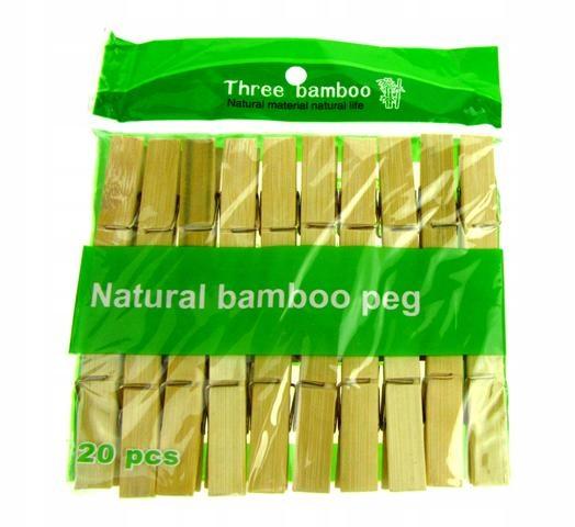 Klamerki do prania bielizny bambusowe eko 20szt