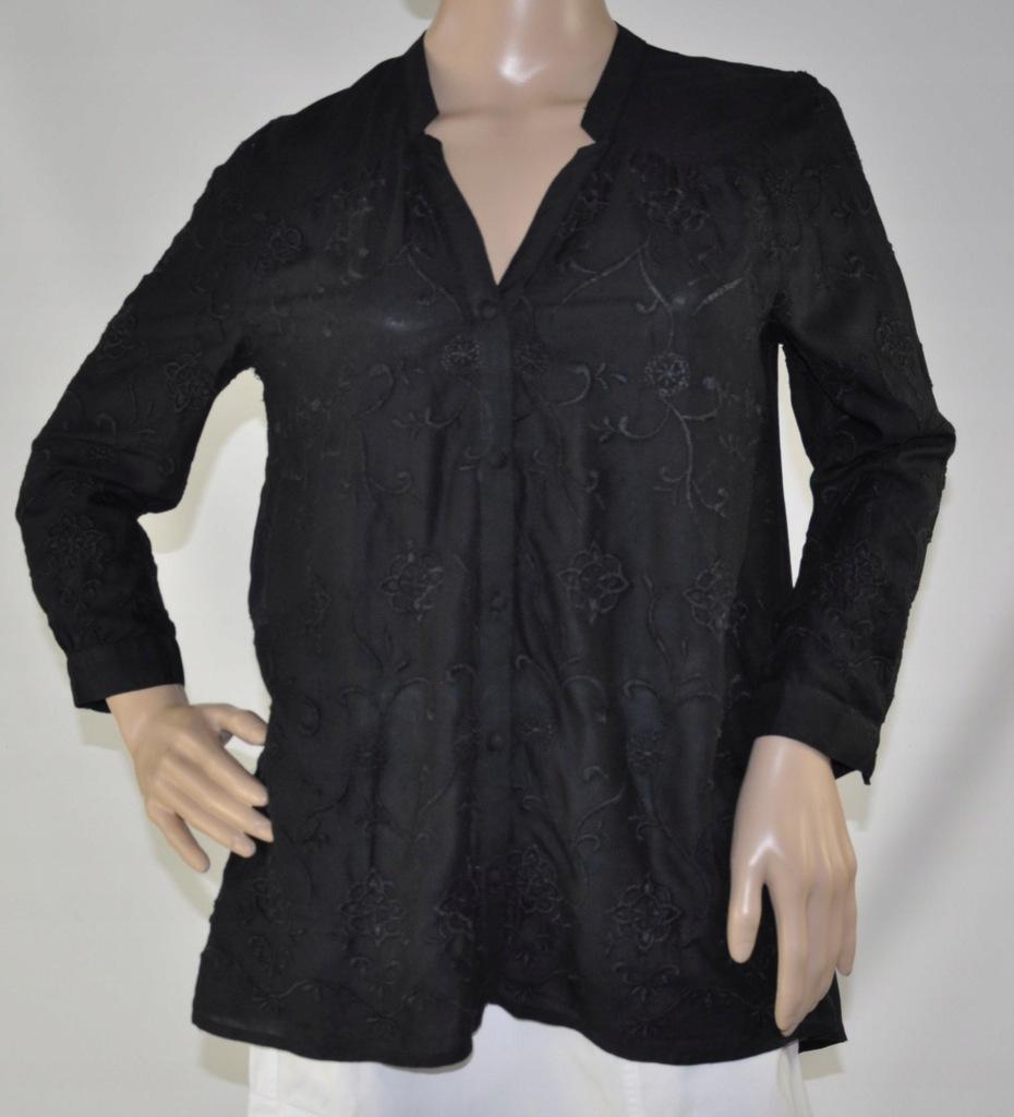 Lucky Brand bluzka koszulowa czarna haft S/M 36