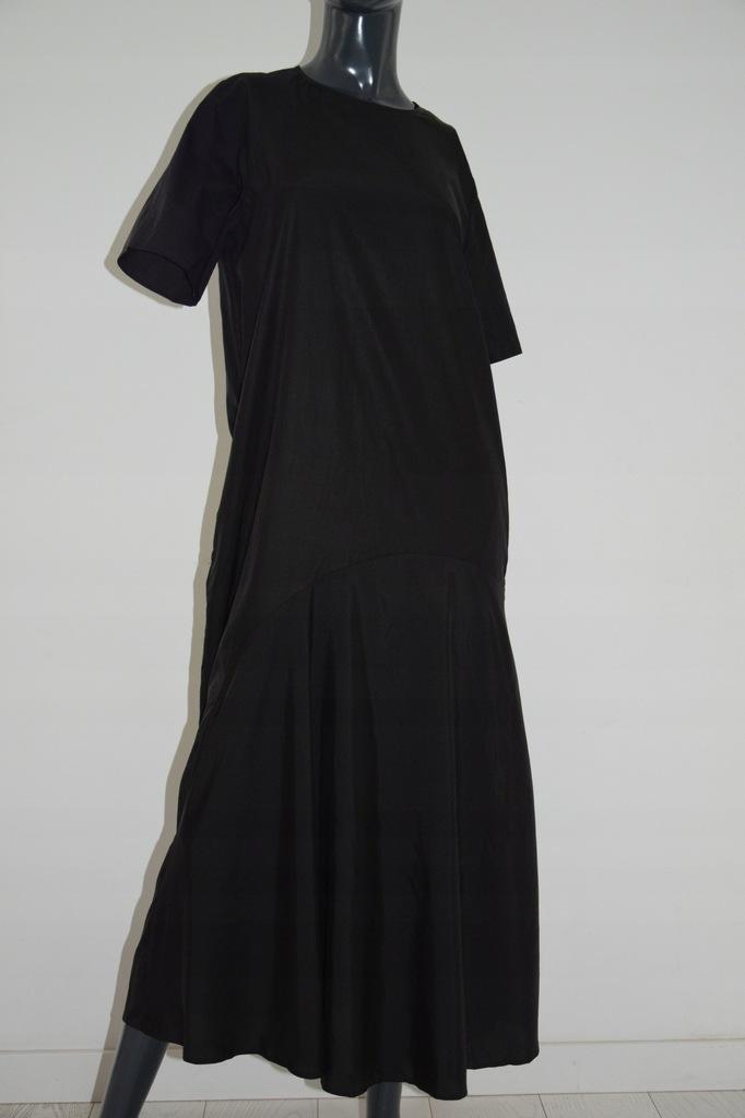 cos kontrastowa czarna maxi sukienka jedwab 42/XL