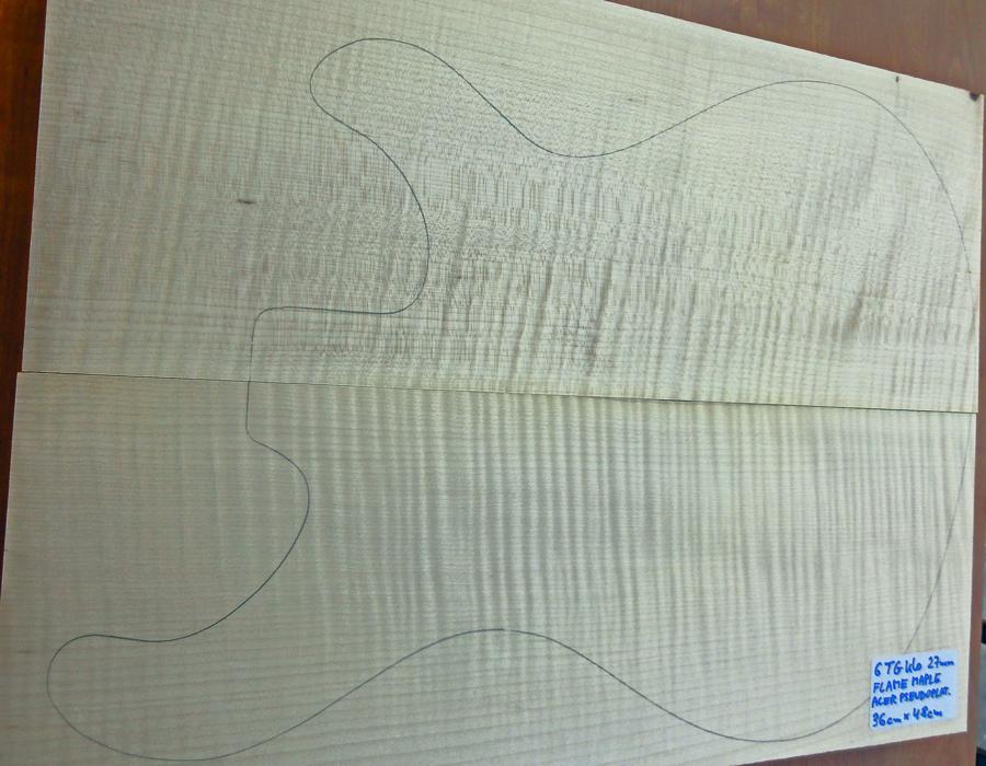 Drewno KLON FALISTY 27mm na top gitary np typu PRS