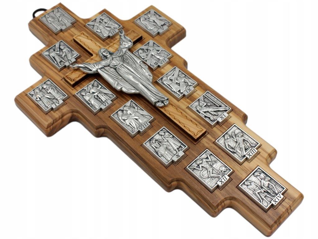 Krzyz Ze Stacjami Drogi Krzyzowej Drewno Oliwne 9074003401 Oficjalne Archiwum Allegro