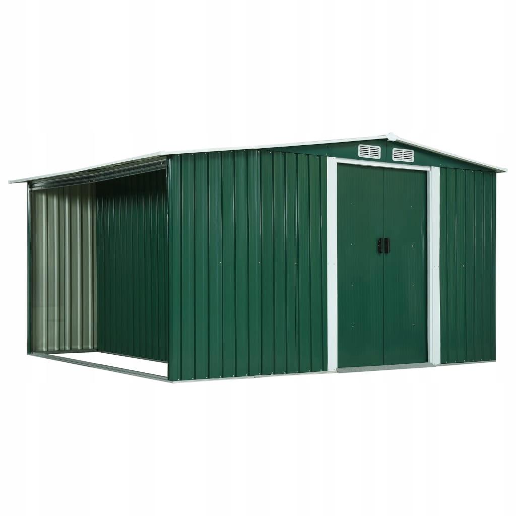 Szopa z drzwiami przesuwnymi, zielona, 329,5x259x1