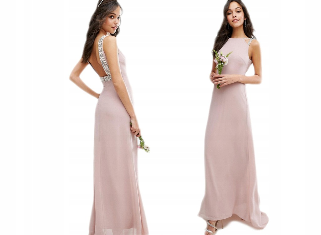 TFNC Zdobiona Różowa Maxi Sukienka S/36