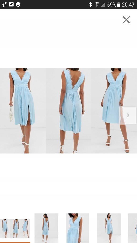 Sukienka wieczorowa plisowana Asos 40 L błękitna