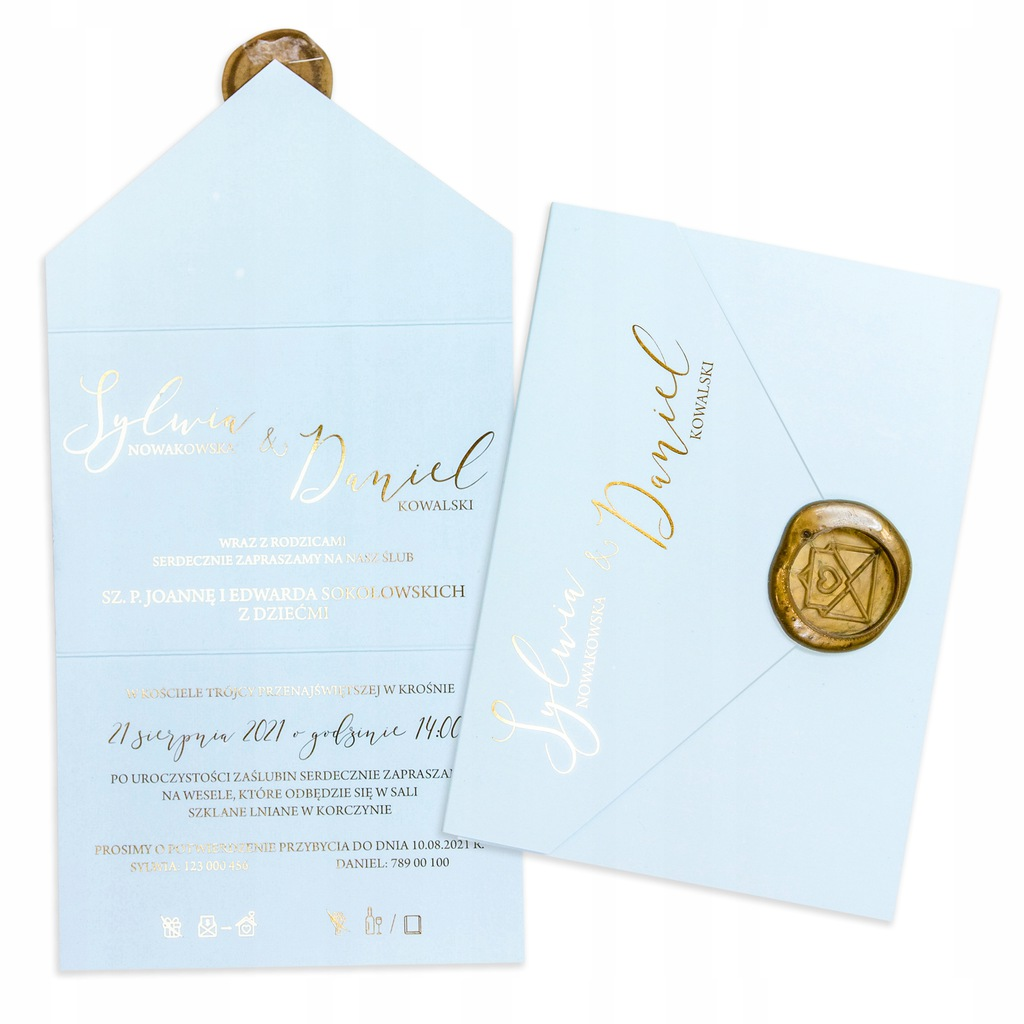 Zaproszenie ślubne na ślub 2w1 Pastel Błękitny Lak