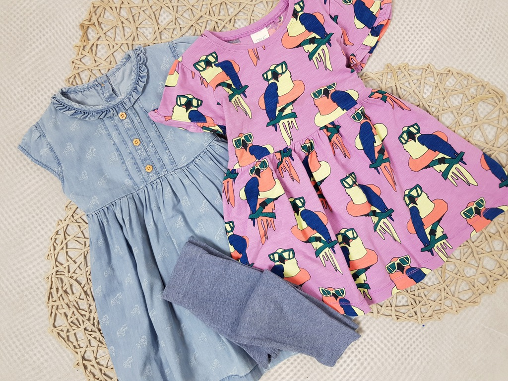 NEXT 2x Sukienka Print Papugi Zebra Denim Legginsy