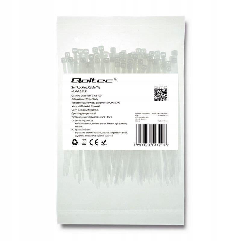 Opaska zaciskowa Qoltec | 2.5*100 | 100szt | nylon