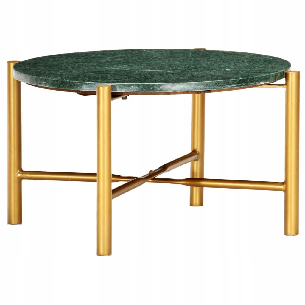 Stolik kawowy, zielony, 60x60x35 cm, kamień o teks