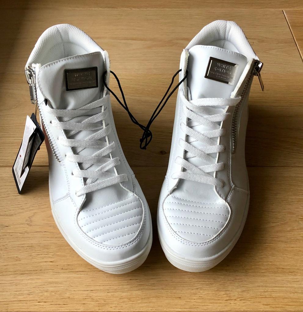 Buty Sneakersy New Yorker Biale Wysokie R 42 8058521288 Oficjalne Archiwum Allegro
