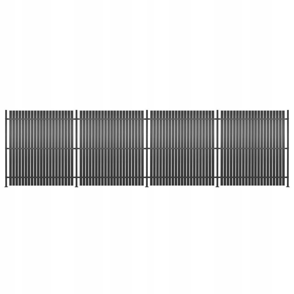 Panele ogrodzeniowe, 4 szt., aluminium, 720 x 180