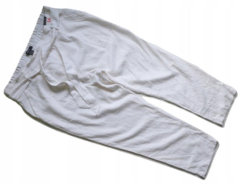 Spodnie białe lniane len chinos primark 44/46