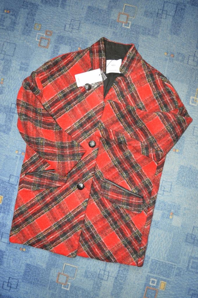Mango płaszcz czerwony kratka XS 34