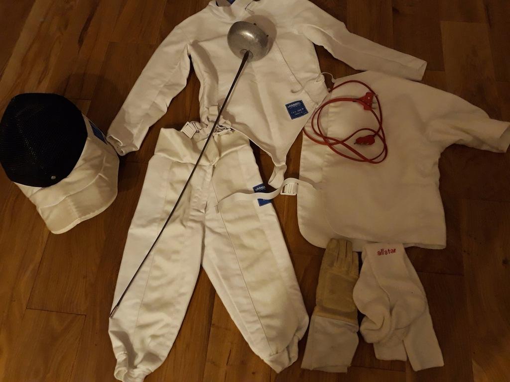 Zestaw szermierczy bluza spodnie plastron maska